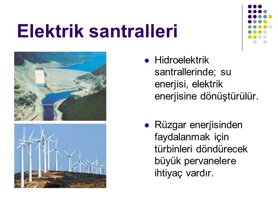 Elektrik santralleri Hidroelektrik santrallerinde; su enerjisi, elektrik enerjisine dönüştürülür. Rüzgar enerjisinden faydalanmak için türbinleri dönd