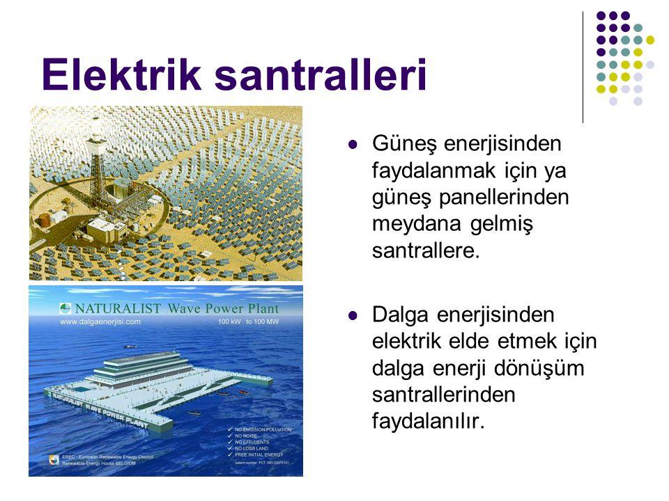 Elektrik santralleri Güneş enerjisinden faydalanmak için ya güneş panellerinden meydana gelmiş santrallere. Dalga enerjisinden elektrik elde etmek içi