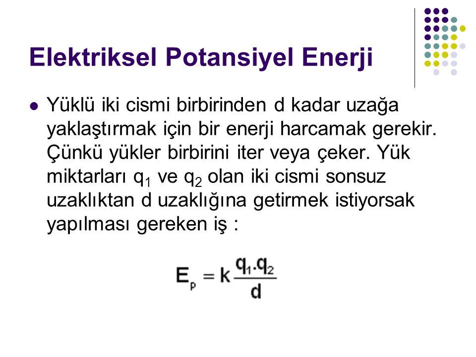 Elektriksel Potansiyel Enerji Yüklü iki cismi birbirinden d kadar uzağa yaklaştırmak için bir enerji harcamak gerekir. Çünkü yükler birbirini iter vey