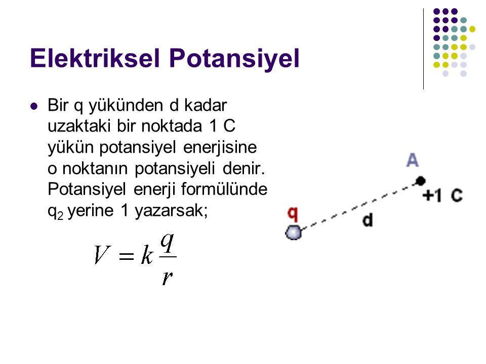 Elektriksel Potansiyel Bir q yükünden d kadar uzaktaki bir noktada 1 C yükün potansiyel enerjisine o noktanın potansiyeli denir. Potansiyel enerji for