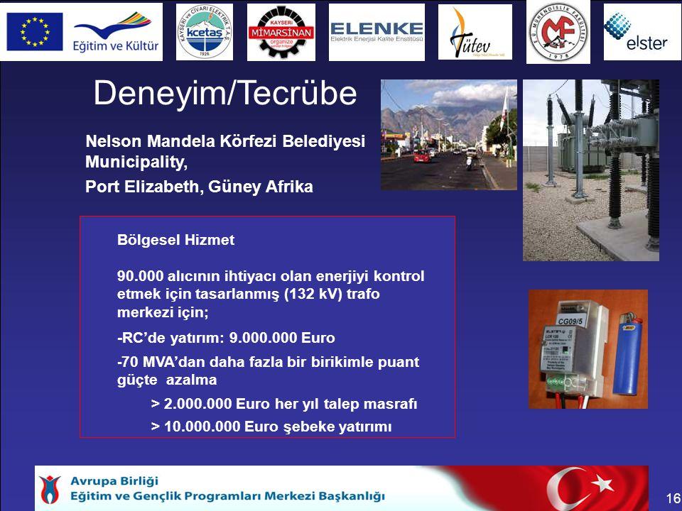 16 > 10.000.000 Euro şebeke yatırımı > 2.000.000 Euro her yıl talep masrafı - 70 MVA'dan daha fazla bir birikimle puant güçte azalma -RC'de yatırım: 9.000.000 Euro 90.000 alıcının ihtiyacı olan enerjiyi kontrol etmek için tasarlanmış (132 kV) trafo merkezi için; Bölgesel Hizmet Port Elizabeth, Güney Afrika Nelson Mandela Körfezi Belediyesi Municipality, Deneyim/Tecrübe