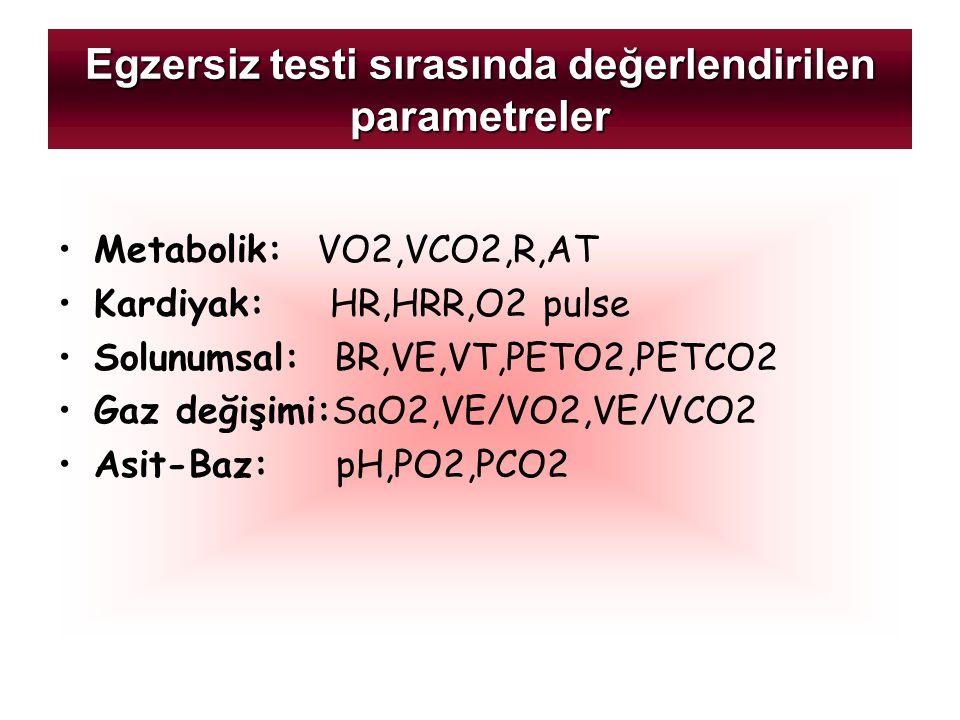 Egzersiz testi sırasında değerlendirilen parametreler Metabolik: VO2,VCO2,R,AT Kardiyak: HR,HRR,O2 pulse Solunumsal: BR,VE,VT,PETO2,PETCO2 Gaz değişim