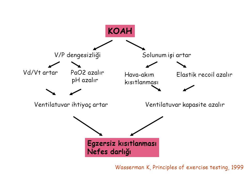KOAH V/P dengesizliğiSolunum işi artar Vd/Vt artar PaO2 azalır pH azalır Hava-akım Elastik recoil azalır kısıtlanması Ventilatuvar ihtiyaç artar Venti