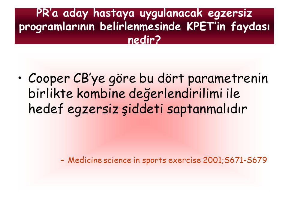 PR'a aday hastaya uygulanacak egzersiz programlarının belirlenmesinde KPET'in faydası nedir? Cooper CB'ye göre bu dört parametrenin birlikte kombine d