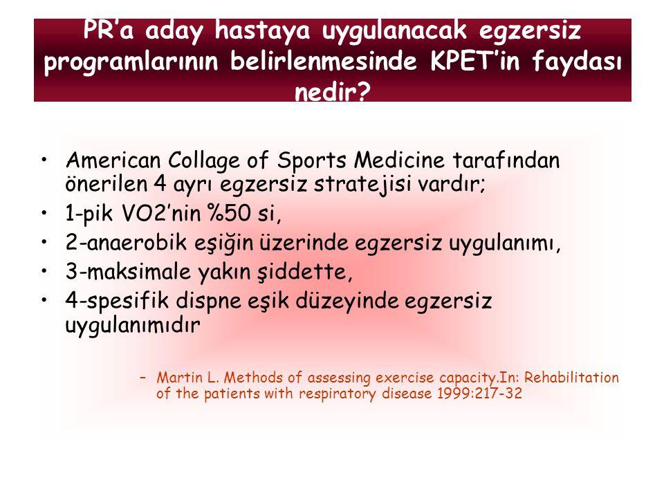 PR'a aday hastaya uygulanacak egzersiz programlarının belirlenmesinde KPET'in faydası nedir? American Collage of Sports Medicine tarafından önerilen 4