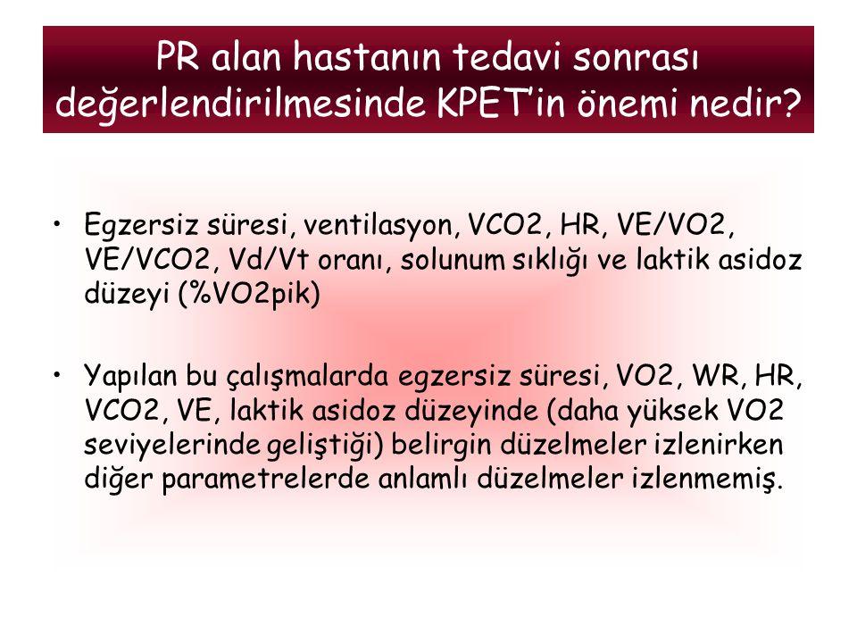 Egzersiz süresi, ventilasyon, VCO2, HR, VE/VO2, VE/VCO2, Vd/Vt oranı, solunum sıklığı ve laktik asidoz düzeyi (%VO2pik) Yapılan bu çalışmalarda egzers