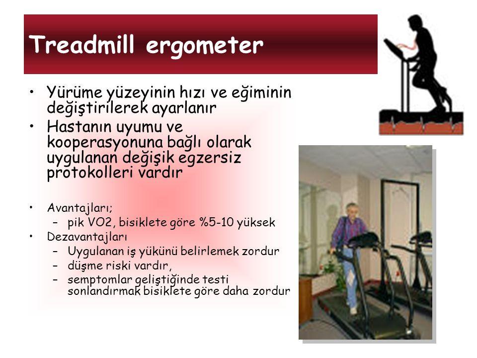 Treadmill ergometer Yürüme yüzeyinin hızı ve eğiminin değiştirilerek ayarlanır Hastanın uyumu ve kooperasyonuna bağlı olarak uygulanan değişik egzersi
