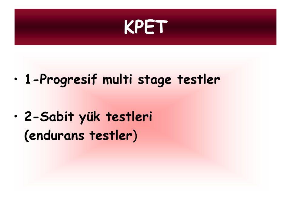 Progresif multi stage İş yükü belli aralıklarla artar Ramp protokolünde iş yükü sürekli olarak artar İncrementel testlerde 1-6 dk lık aralıklarla iş yükü artırılır, genelikle 3 dk lık ısınma peryodundan sonra her bir dk.