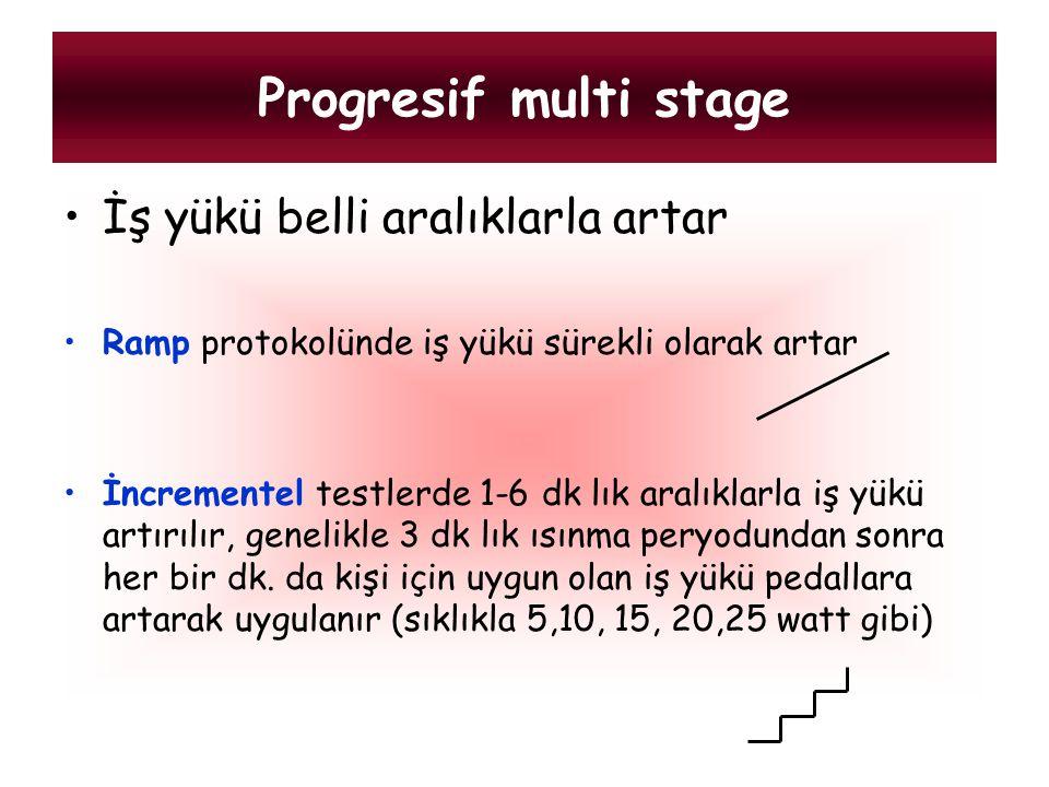 Progresif multi stage İş yükü belli aralıklarla artar Ramp protokolünde iş yükü sürekli olarak artar İncrementel testlerde 1-6 dk lık aralıklarla iş y