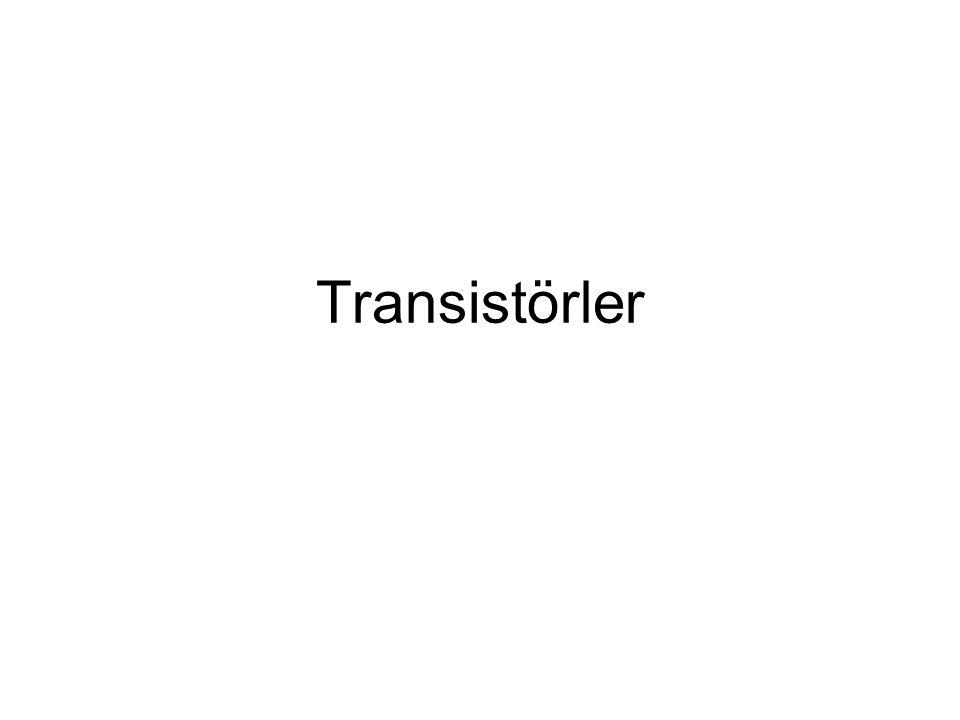 V CC ICIC V BE = 0.7 V (Bir transistörün B-E terminali her zaman için diyot özelliği gösterir) V BB = V RB + V BE = ( I B x R C ) + 0.7V (Giriş KGY) V CC = V RC + V CE = ( I C x R C ) + V CE (Çıkış KGY) V CB = V CE - V BE