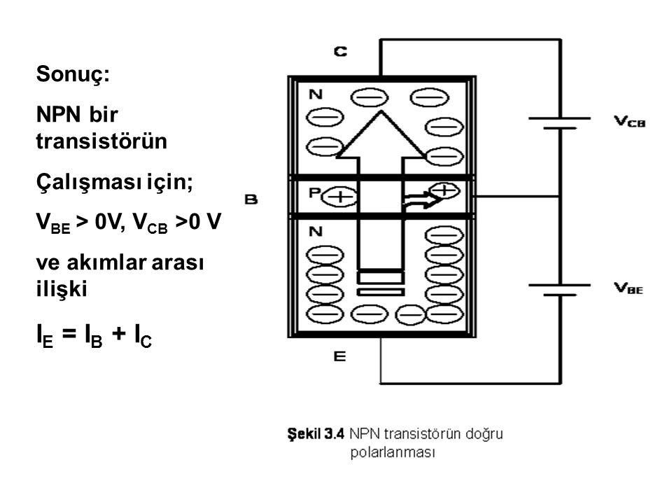 V BC Sonuç: PNP bir transistörün Çalışması için; V EB > 0V, V BC >0 V ve akımlar arası ilişki I E = I B + I C