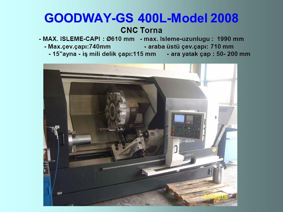 GOODWAY-GS 400L-Model 2008 CNC Torna - MAX. ISLEME-CAPI : Ø610 mm - max. Isleme-uzunlugu : 1990 mm - Max.çev.çapı:740mm - araba üstü çev.çapı: 710 mm