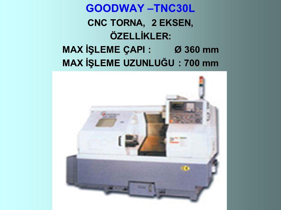 GOODWAY –TNC30L CNC TORNA, 2 EKSEN, ÖZELLİKLER: MAX İŞLEME ÇAPI : Ø 360 mm MAX İŞLEME UZUNLUĞU : 700 mm