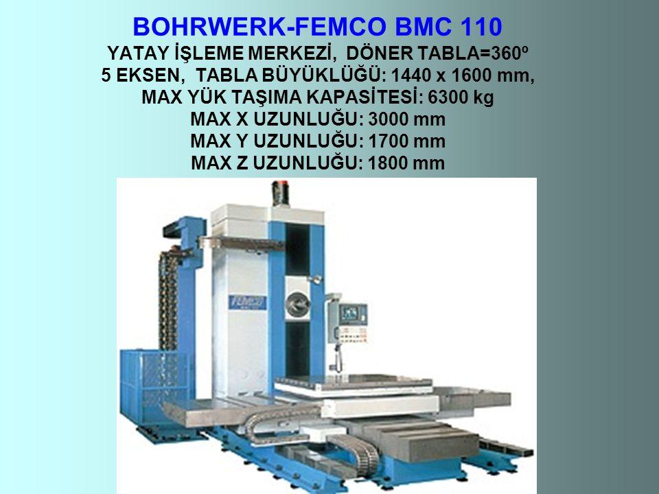 BOHRWERK-FEMCO BMC 110 YATAY İŞLEME MERKEZİ, DÖNER TABLA=360º 5 EKSEN, TABLA BÜYÜKLÜĞÜ: 1440 x 1600 mm, MAX YÜK TAŞIMA KAPASİTESİ: 6300 kg MAX X UZUNLUĞU: 3000 mm MAX Y UZUNLUĞU: 1700 mm MAX Z UZUNLUĞU: 1800 mm