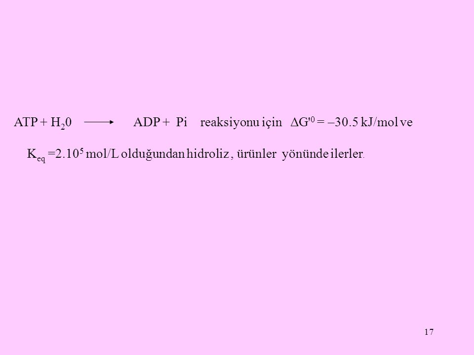 17 ATP + H 2 0 ADP + Pi reaksiyonu için ΔG' 0 = –30.5 kJ/mol ve K eq =2.10 5 mol/L olduğundan hidroliz, ürünler yönünde ilerler.