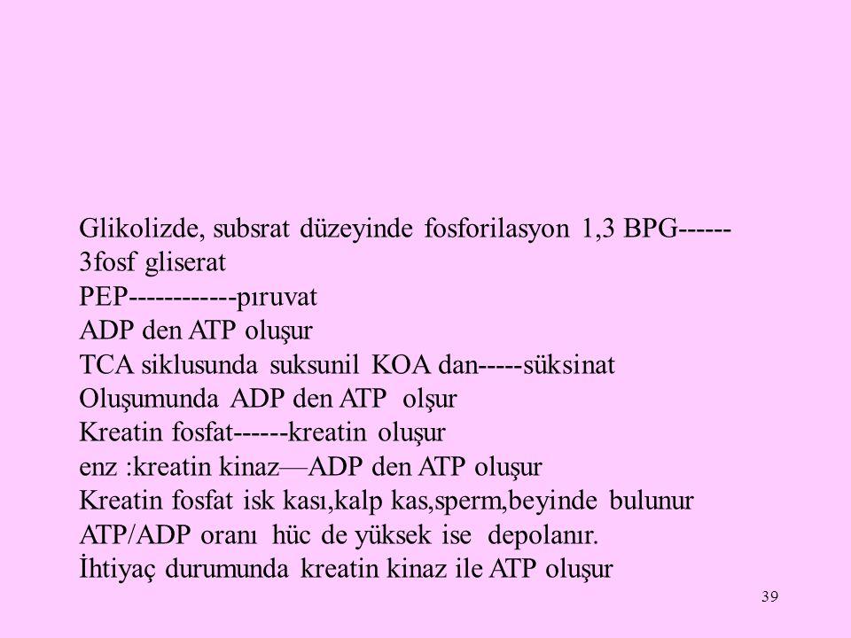 39 Glikolizde, subsrat düzeyinde fosforilasyon 1,3 BPG------ 3fosf gliserat PEP------------pıruvat ADP den ATP oluşur TCA siklusunda suksunil KOA dan-