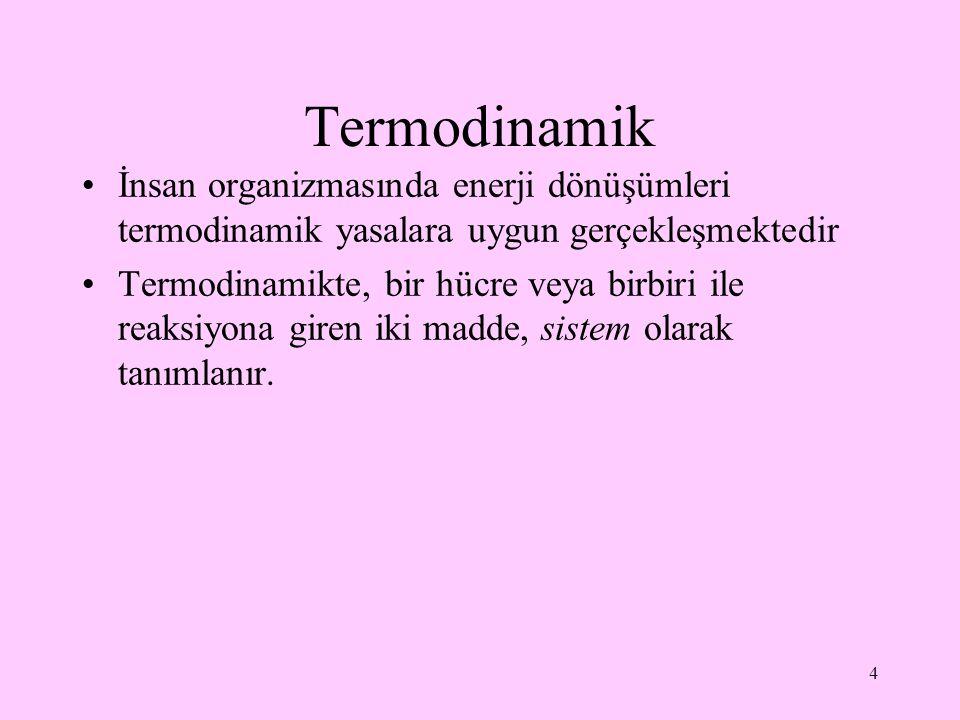 Termodinamik İnsan organizmasında enerji dönüşümleri termodinamik yasalara uygun gerçekleşmektedir Termodinamikte, bir hücre veya birbiri ile reaksiyo