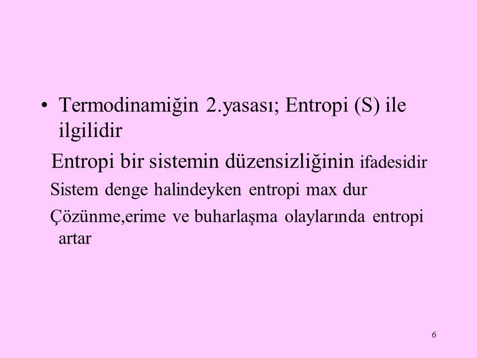 Termodinamiğin 2.yasası; Entropi (S) ile ilgilidir Entropi bir sistemin düzensizliğinin ifadesidir Sistem denge halindeyken entropi max dur Çözünme,er