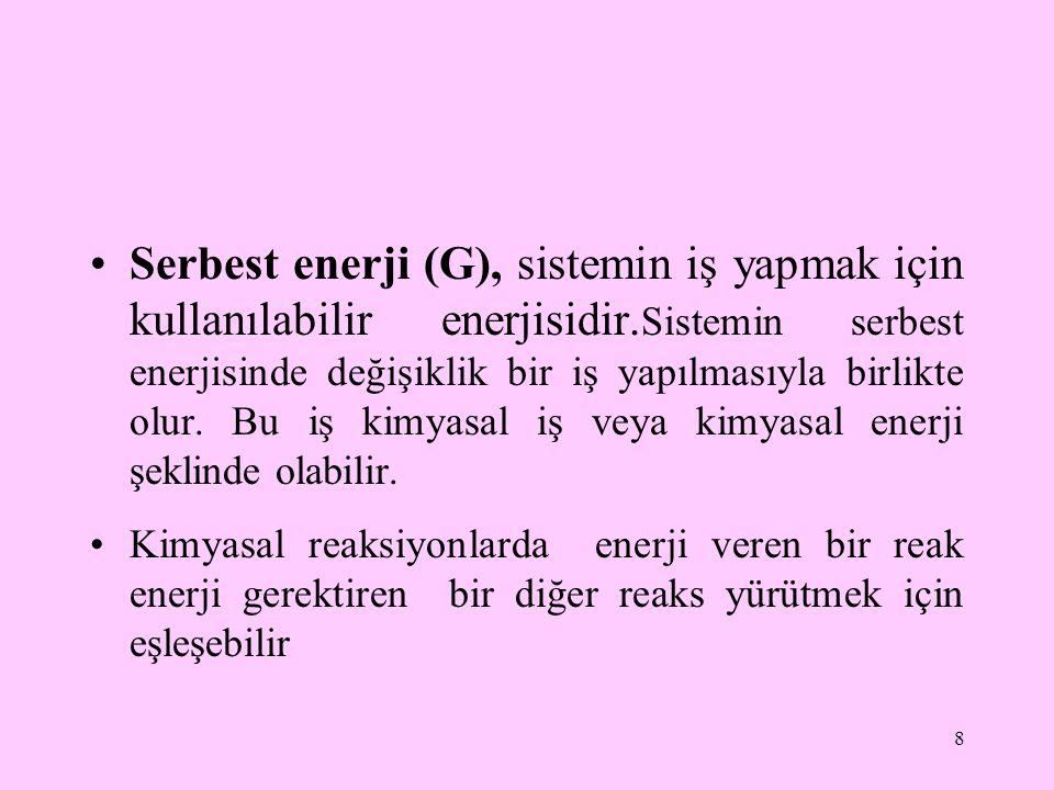 Serbest enerji (G), sistemin iş yapmak için kullanılabilir enerjisidir. Sistemin serbest enerjisinde değişiklik bir iş yapılmasıyla birlikte olur. Bu