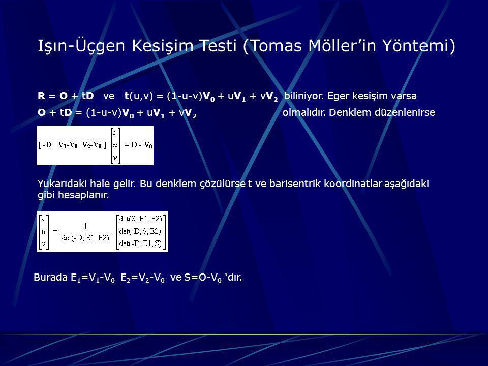 Işın-Küre Kesişim Testi Işın_Küre_Kesişimi( o, d, c, r) 1:l = c – o 2:s = l * d 3:l 2 = l * l 4:if ( s r 2 ) return (REJECT,0,0) 5:m 2 = l 2 - s 2 6:if ( m 2 > r 2 ) return (REJECT,0,0) 7:q = sqrt(r 2 - m 2 ) 8:if ( l 2 > r 2 ) t = s – q 9:else t = s+ q 10:return (INTERSECT, t, o + td)