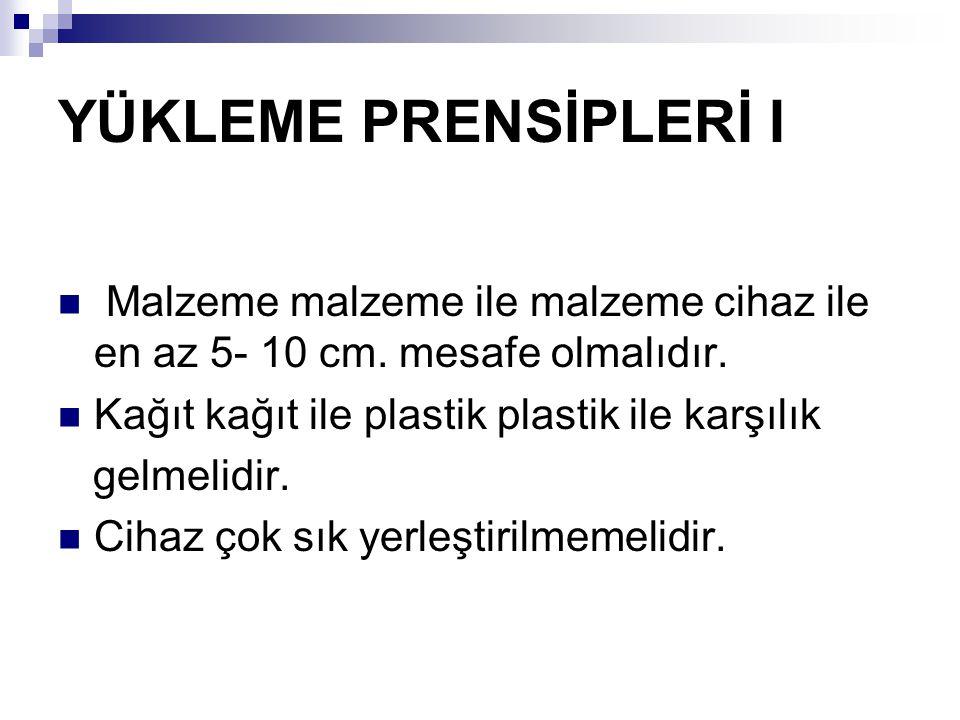 YÜKLEME PRENSİPLERİ I Malzeme malzeme ile malzeme cihaz ile en az 5- 10 cm.