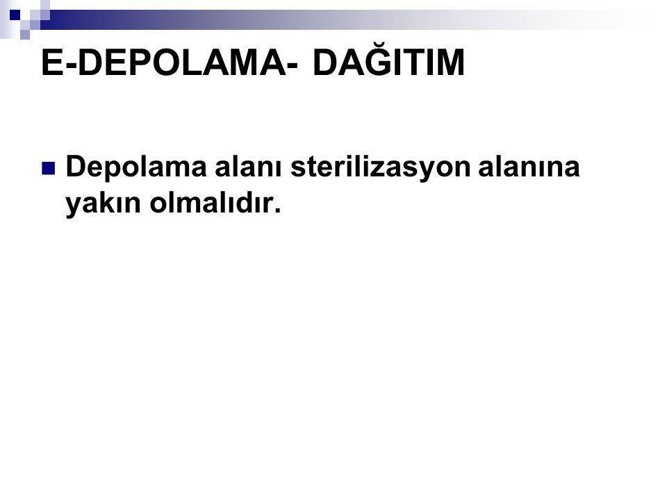 E-DEPOLAMA- DAĞITIM Depolama alanı sterilizasyon alanına yakın olmalıdır.