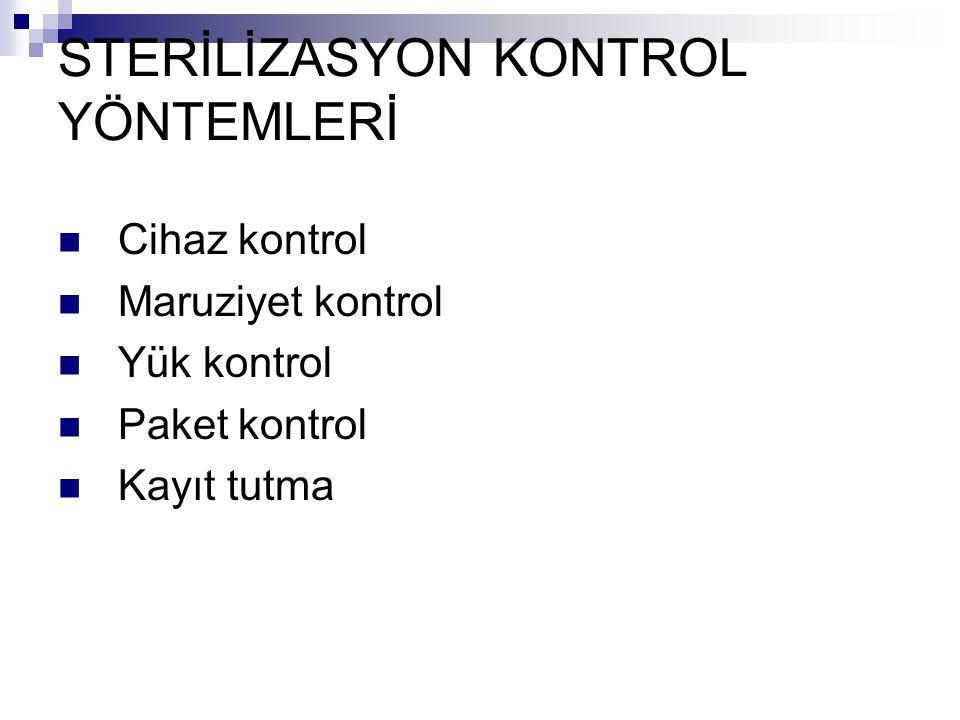 STERİLİZASYON KONTROL YÖNTEMLERİ Cihaz kontrol Maruziyet kontrol Yük kontrol Paket kontrol Kayıt tutma