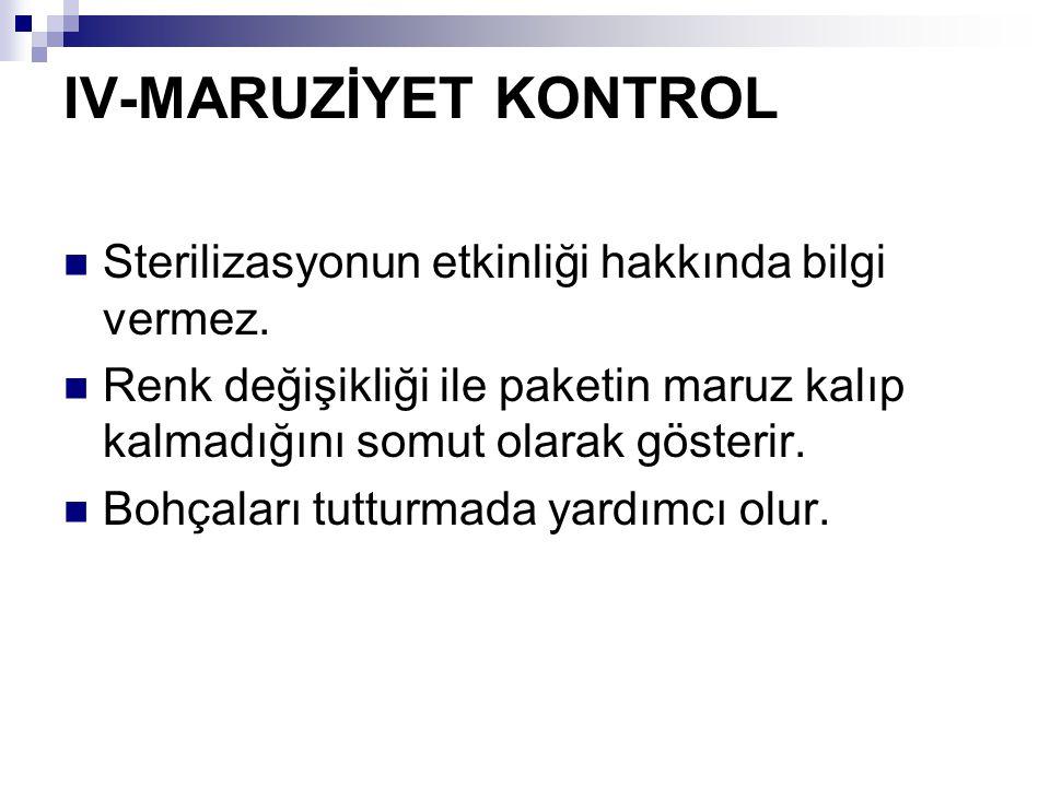 IV-MARUZİYET KONTROL Sterilizasyonun etkinliği hakkında bilgi vermez.