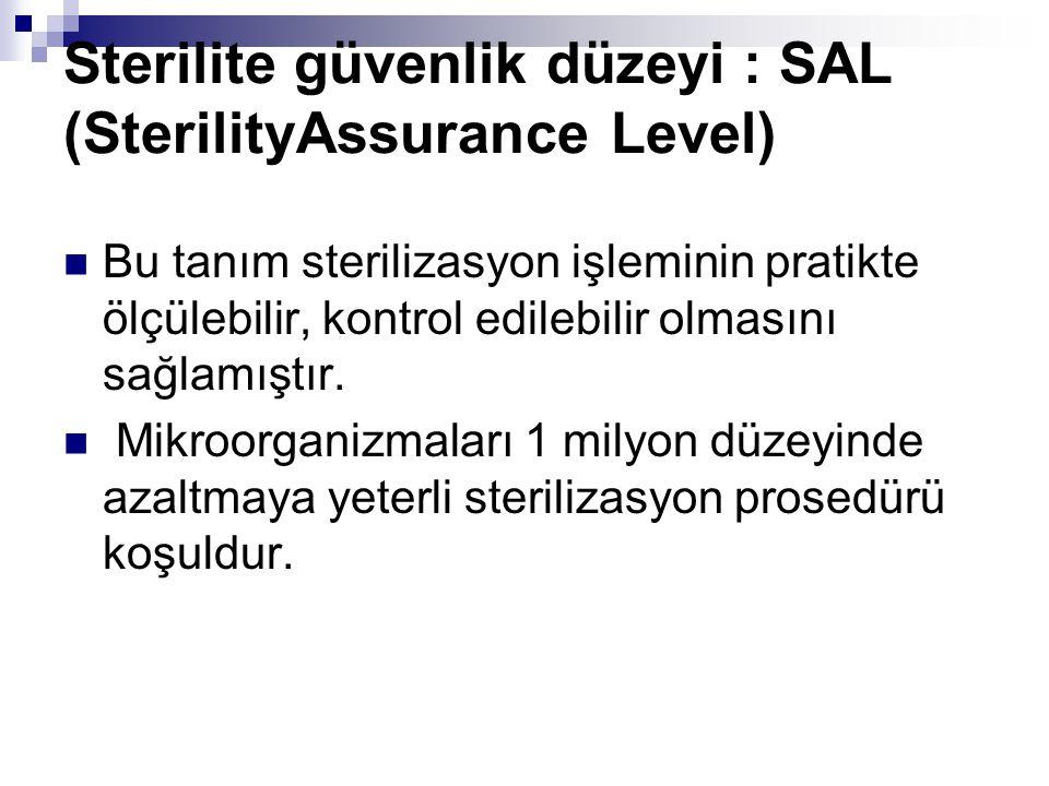 Sterilite güvenlik düzeyi : SAL (SterilityAssurance Level) Bu tanım sterilizasyon işleminin pratikte ölçülebilir, kontrol edilebilir olmasını sağlamış