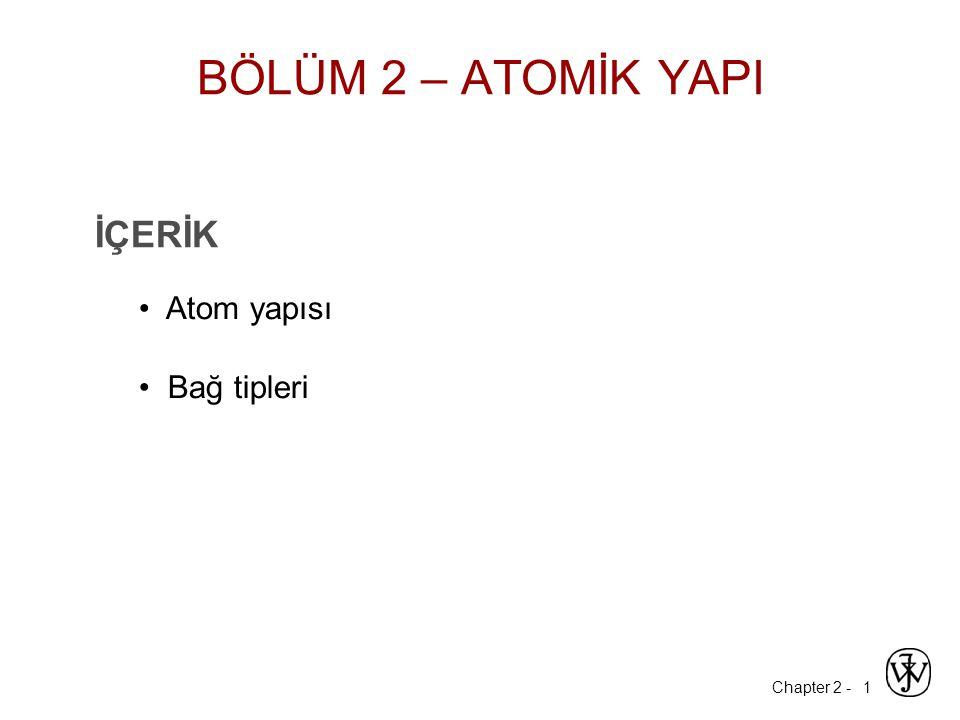 Chapter 2 - 1 İÇERİK Atom yapısı Bağ tipleri BÖLÜM 2 – ATOMİK YAPI