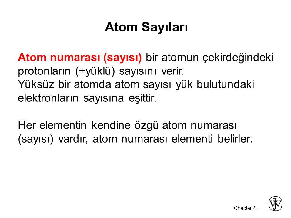 Chapter 2 - Atom Sayıları Atom numarası (sayısı) bir atomun çekirdeğindeki protonların (+yüklü) sayısını verir.