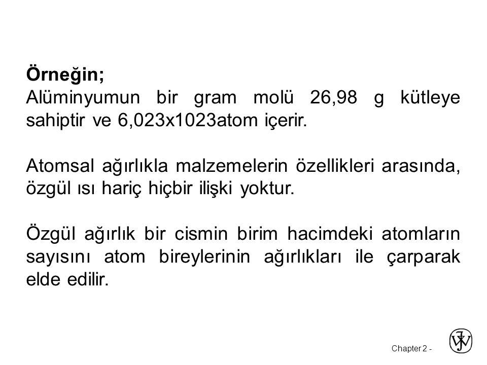 Chapter 2 - Örneğin; Alüminyumun bir gram molü 26,98 g kütleye sahiptir ve 6,023x1023atom içerir.