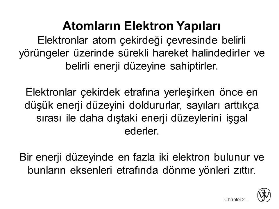 Chapter 2 - Atomların Elektron Yapıları Elektronlar atom çekirdeği çevresinde belirli yörüngeler üzerinde sürekli hareket halindedirler ve belirli enerji düzeyine sahiptirler.