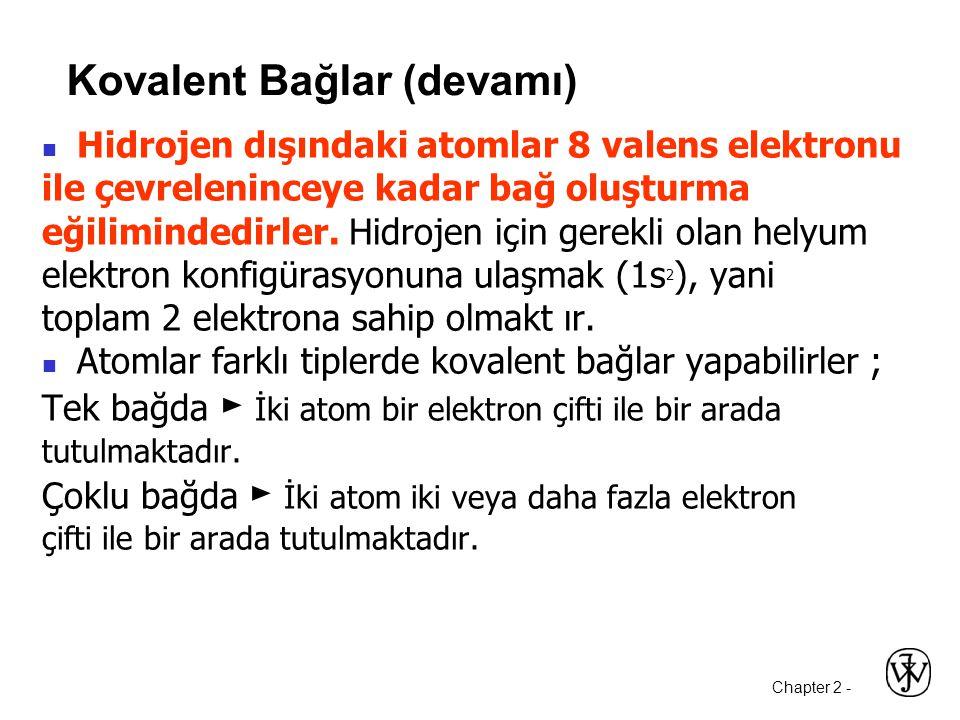Chapter 2 -  Hidrojen dışındaki atomlar 8 valens elektronu ile çevreleninceye kadar bağ oluşturma eğilimindedirler.