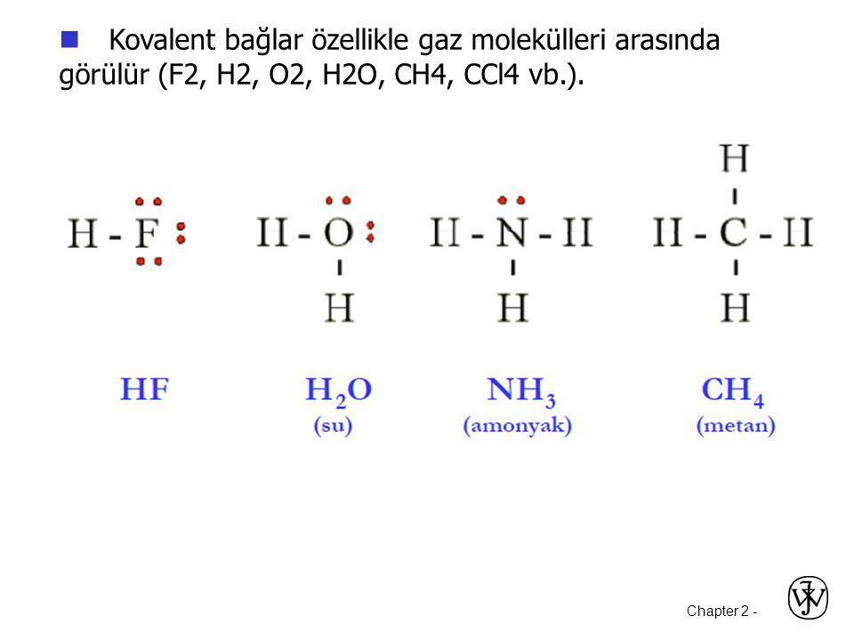 Chapter 2 -  Kovalent bağlar özellikle gaz molekülleri arasında görülür (F2, H2, O2, H2O, CH4, CCl4 vb.).