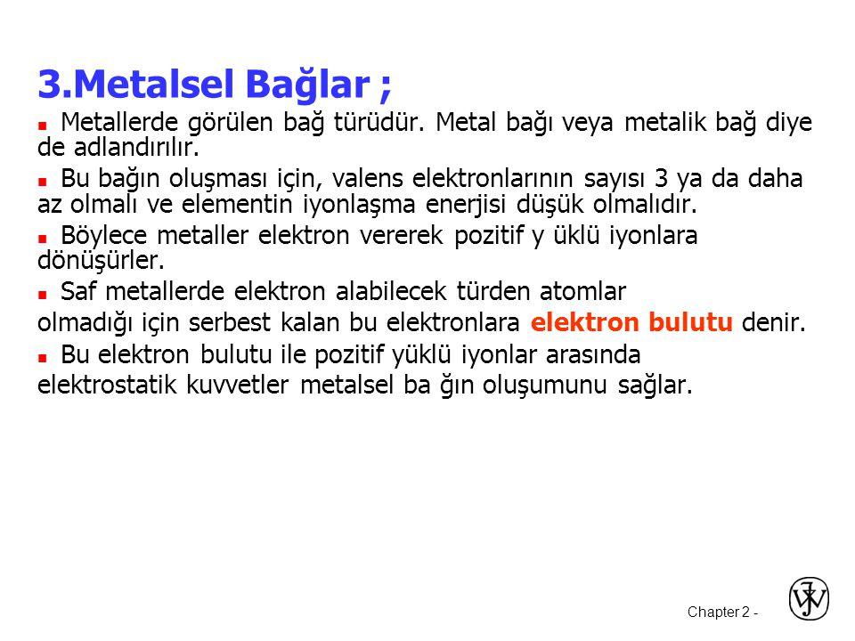 Chapter 2 - 3.Metalsel Bağlar ;  Metallerde görülen bağ türüdür.