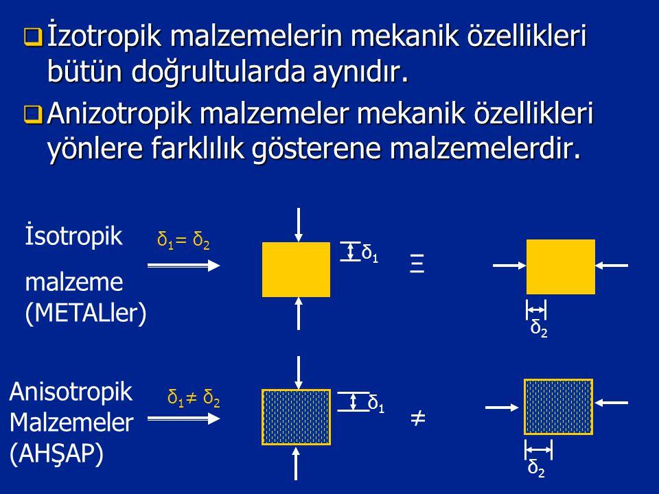  İzotropik malzemelerin mekanik özellikleri bütün doğrultularda aynıdır.  Anizotropik malzemeler mekanik özellikleri yönlere farklılık gösterene mal