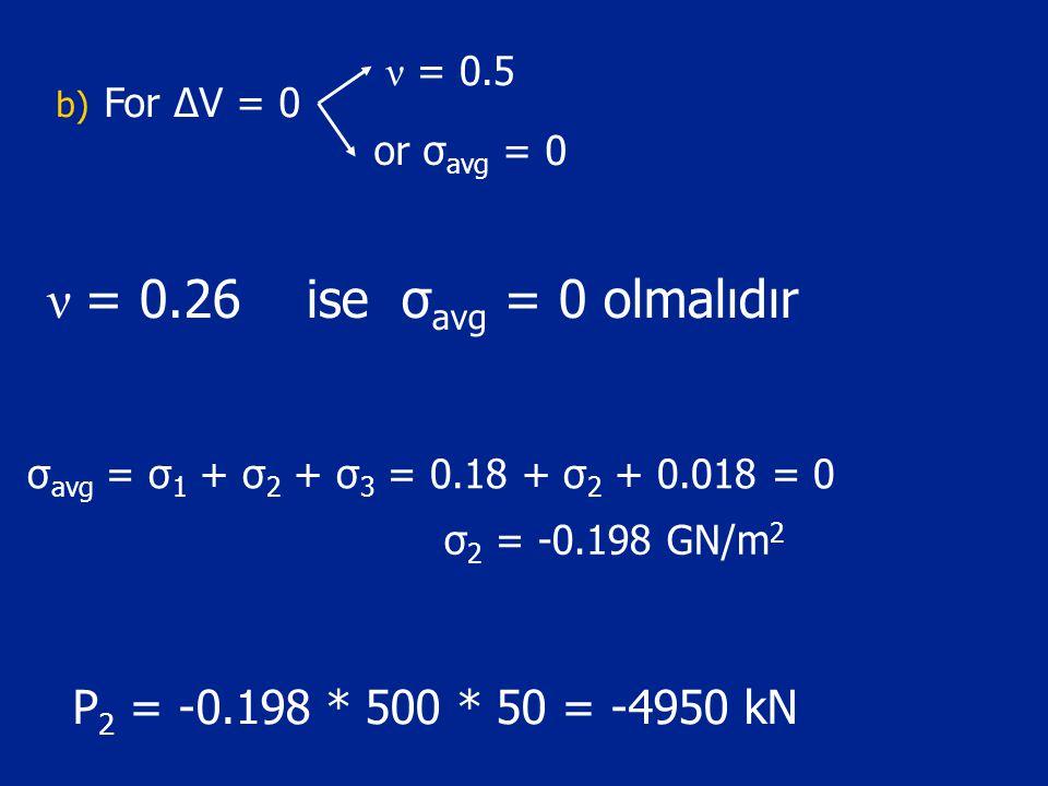 ν = 0.26 ise σ avg = 0 olmalıdır b) For ΔV = 0 ν = 0.5 or σ avg = 0 σ avg = σ 1 + σ 2 + σ 3 = 0.18 + σ 2 + 0.018 = 0 σ 2 = -0.198 GN/m 2 P 2 = -0.198 * 500 * 50 = -4950 kN