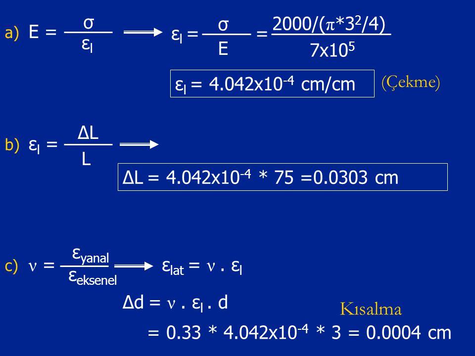 a) E = σ εlεl σ ε l = E = 2000/( π *3 2 /4) 7x10 5 ε l = 4.042x10 -4 cm/cm b) ε l = ΔLΔL L ΔL = 4.042x10 -4 * 75 =0.0303 cm c) ν = ε eksenel ε yanal ε lat = ν.