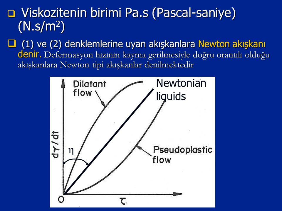  Viskozitenin birimi Pa.s (Pascal-saniye) (N.s/m 2 )  (1) ve (2) denklemlerine uyan akışkanlara Newton akışkanı denir. Defermasyon hızının kayma ger