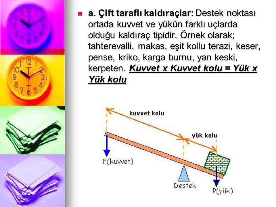 a. Çift taraflı kaldıraçlar: Destek noktası ortada kuvvet ve yükün farklı uçlarda olduğu kaldıraç tipidir. Örnek olarak; tahterevalli, makas, eşit kol