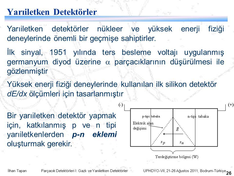 İlhan Tapan Parçacık Detektörleri I: Gazlı ve Yarıiletken Detektörler UPHDYO-VII, 21-26 Ağustos 2011, Bodrum-Türkiye 26 Yarıiletken Detektörler Yarıiletken detektörler nükleer ve yüksek enerji fiziği deneylerinde önemli bir geçmişe sahiptirler.