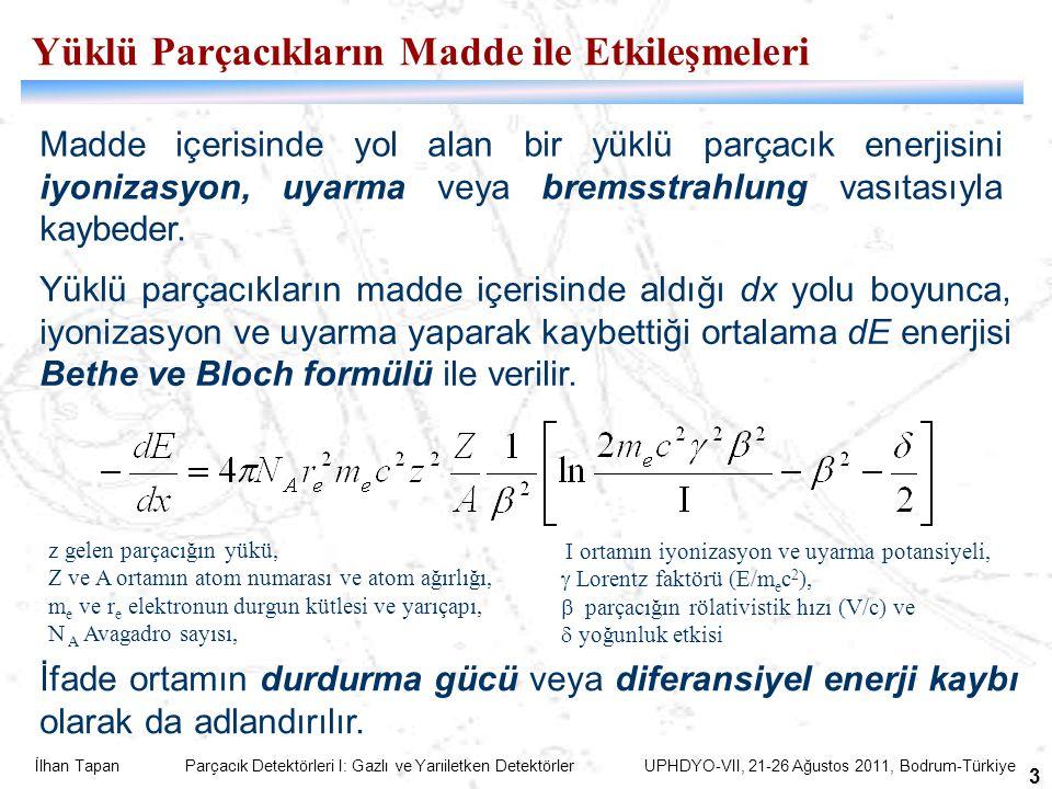 İlhan Tapan Parçacık Detektörleri I: Gazlı ve Yarıiletken Detektörler UPHDYO-VII, 21-26 Ağustos 2011, Bodrum-Türkiye 3 Madde içerisinde yol alan bir yüklü parçacık enerjisini iyonizasyon, uyarma veya bremsstrahlung vasıtasıyla kaybeder.