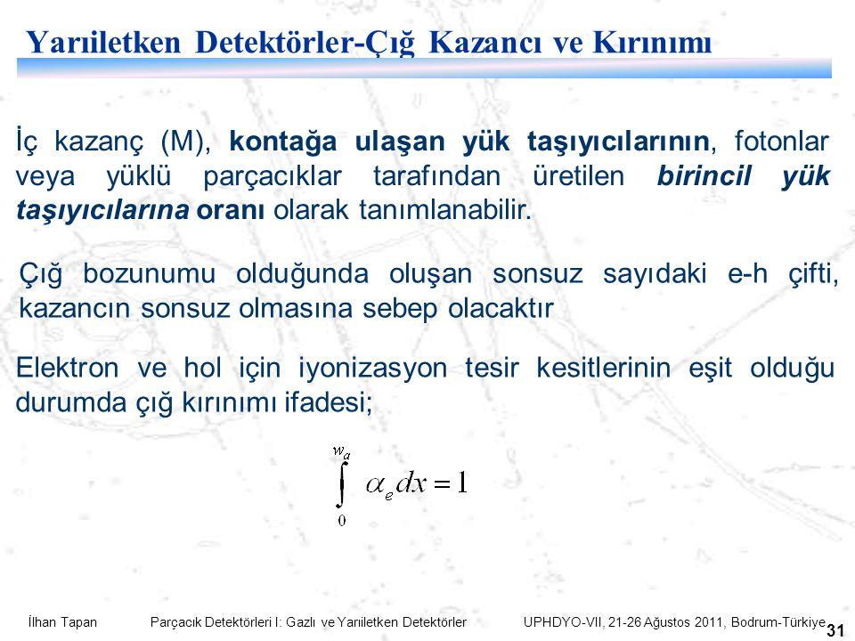 İlhan Tapan Parçacık Detektörleri I: Gazlı ve Yarıiletken Detektörler UPHDYO-VII, 21-26 Ağustos 2011, Bodrum-Türkiye 31 Yarıiletken Detektörler-Çığ Ka