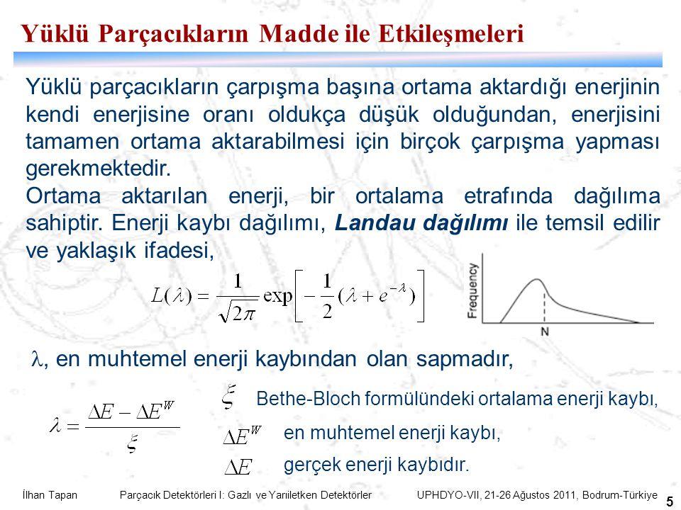 İlhan Tapan Parçacık Detektörleri I: Gazlı ve Yarıiletken Detektörler UPHDYO-VII, 21-26 Ağustos 2011, Bodrum-Türkiye 5 Yüklü parçacıkların çarpışma başına ortama aktardığı enerjinin kendi enerjisine oranı oldukça düşük olduğundan, enerjisini tamamen ortama aktarabilmesi için birçok çarpışma yapması gerekmektedir.