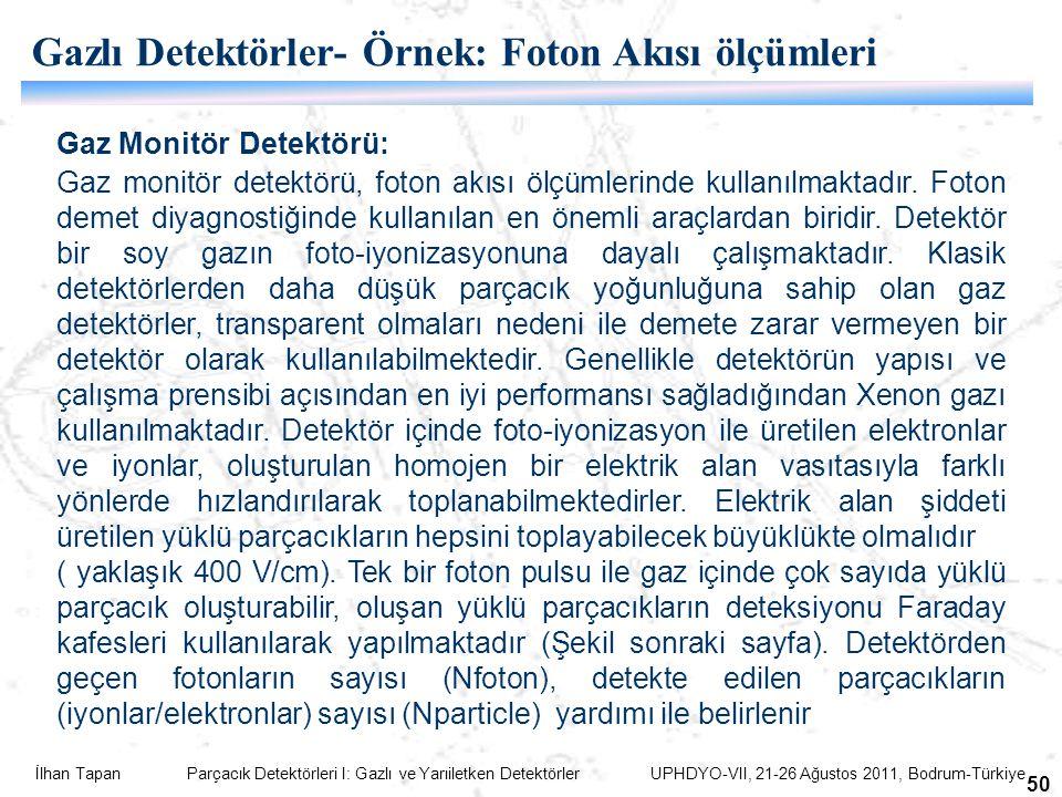 İlhan Tapan Parçacık Detektörleri I: Gazlı ve Yarıiletken Detektörler UPHDYO-VII, 21-26 Ağustos 2011, Bodrum-Türkiye 50 Gaz Monitör Detektörü: Gaz mon