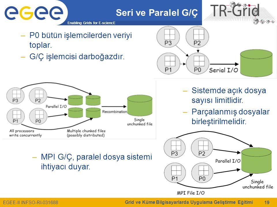 Enabling Grids for E-sciencE EGEE-II INFSO-RI-031688 Grid ve Küme Bilgisayarlarda Uygulama Geliştirme Eğitimi 19 Seri ve Paralel G/Ç –P0 bütün işlemci