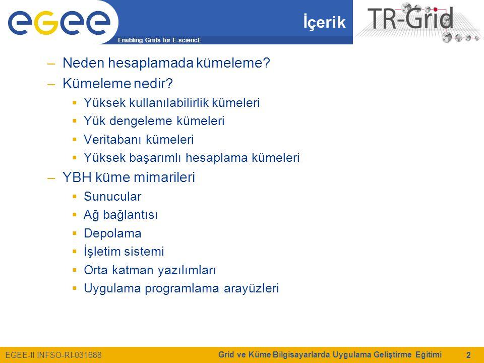 Enabling Grids for E-sciencE EGEE-II INFSO-RI-031688 Grid ve Küme Bilgisayarlarda Uygulama Geliştirme Eğitimi 2 İçerik –Neden hesaplamada kümeleme? –K
