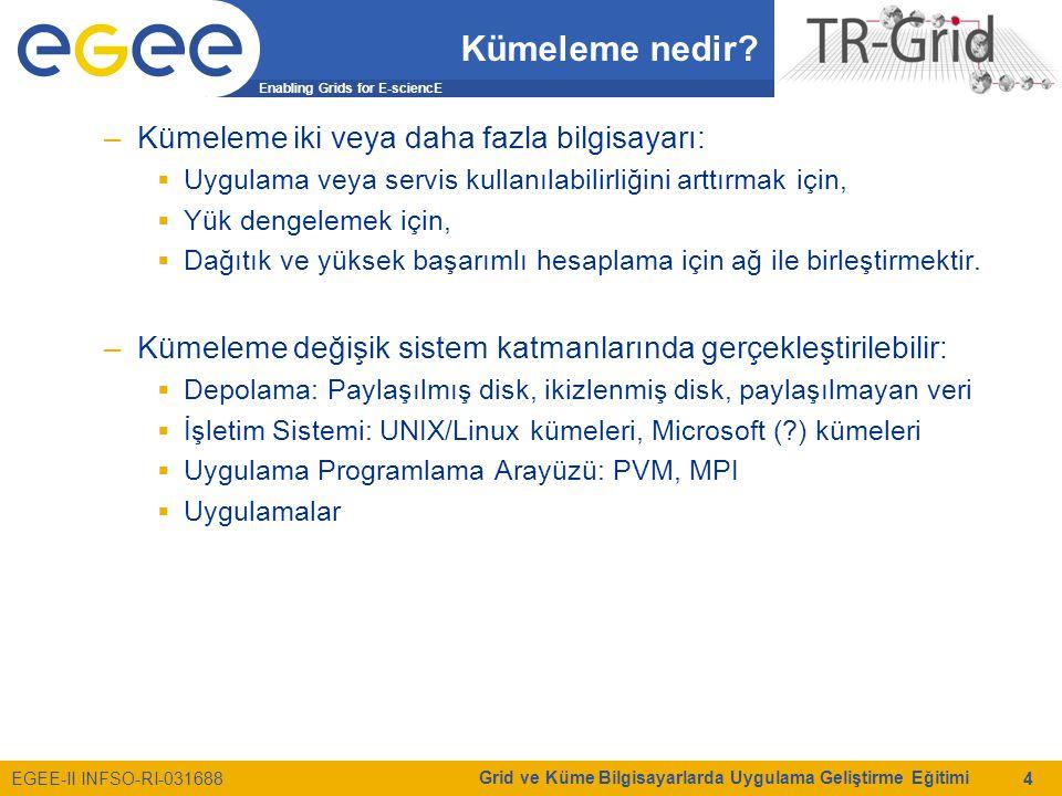 Enabling Grids for E-sciencE EGEE-II INFSO-RI-031688 Grid ve Küme Bilgisayarlarda Uygulama Geliştirme Eğitimi 4 Kümeleme nedir? –Kümeleme iki veya dah