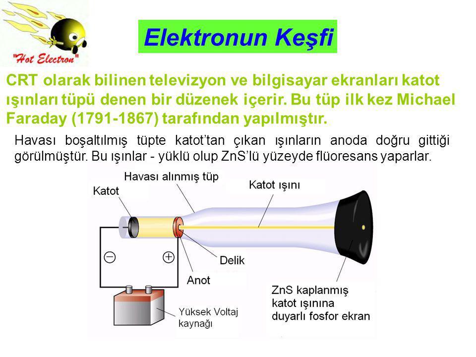 Elektronun Keşfi CRT olarak bilinen televizyon ve bilgisayar ekranları katot ışınları tüpü denen bir düzenek içerir. Bu tüp ilk kez Michael Faraday (1